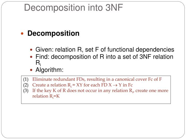 Eliminate redundant FDs, resulting in a canonical cover Fc of F