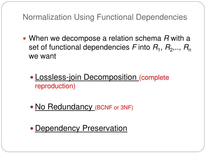 Normalization Using Functional Dependencies