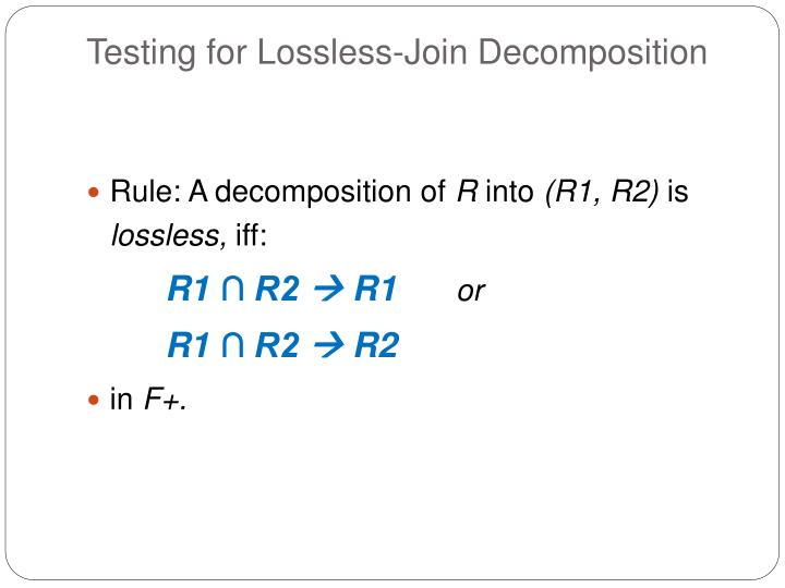 Testing for Lossless-Join Decomposition