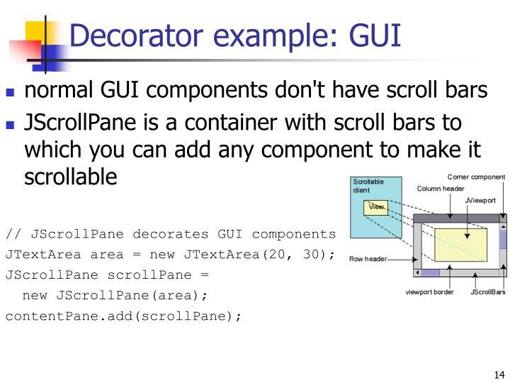 Decorator example: GUI