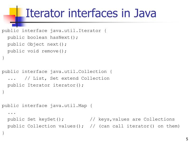 Iterator interfaces in Java
