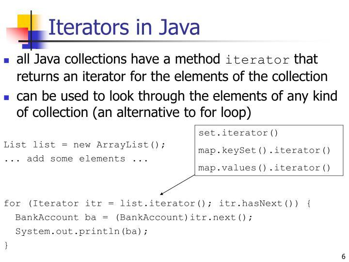 Iterators in Java