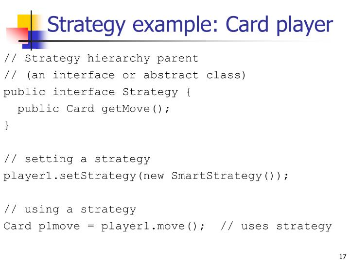 Strategy example: Card player