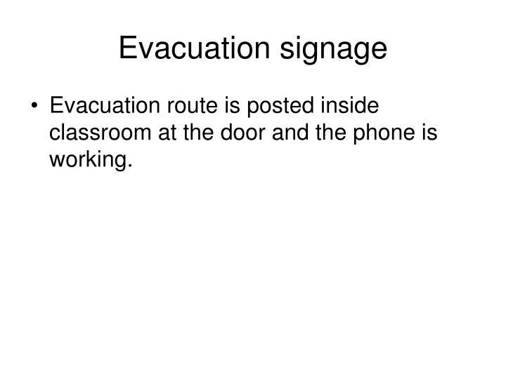 Evacuation signage