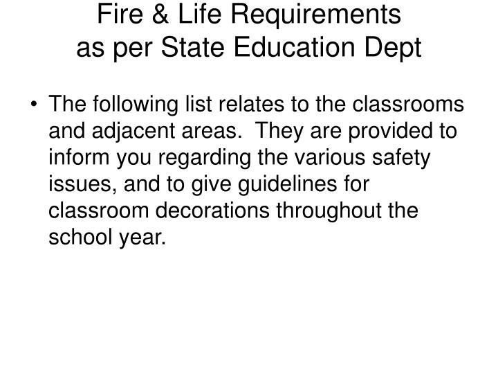 Fire & Life Requirements