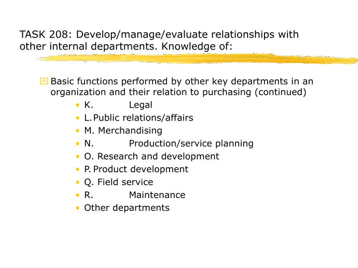 TASK 208: Develop/manage/evaluate relationships with other internal departments.