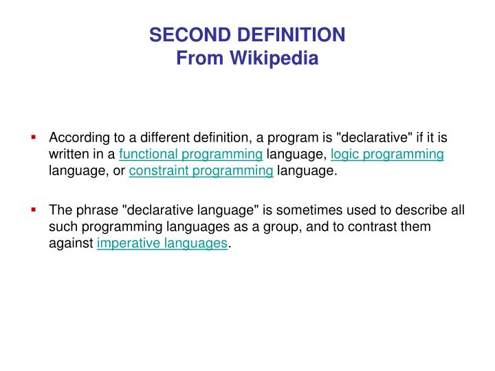 SECOND DEFINITION