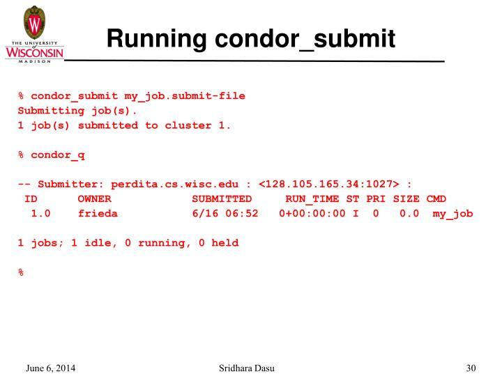 Running condor_submit