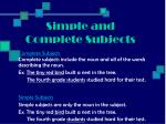 simple and complete subjects