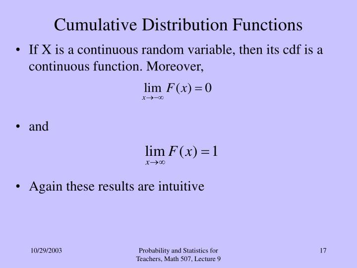 Cumulative Distribution Functions