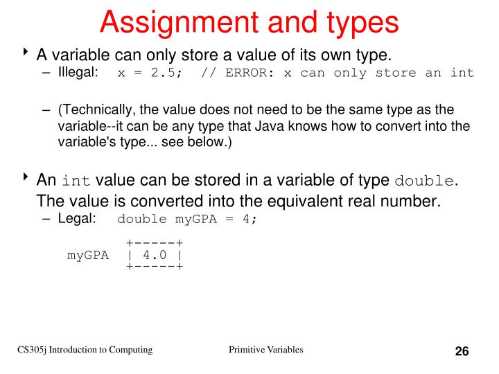 Assignment and types