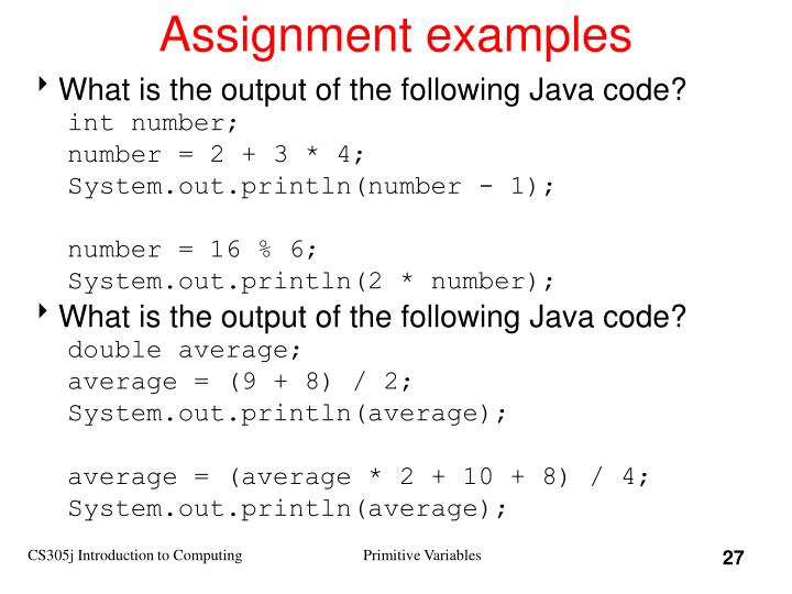 Assignment examples