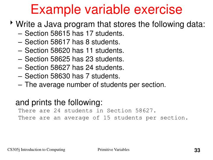 Example variable exercise