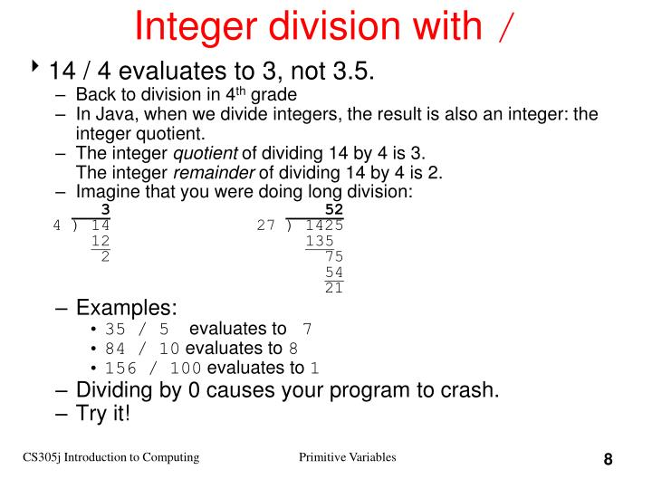 Integer division with