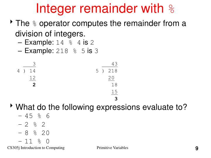 Integer remainder with
