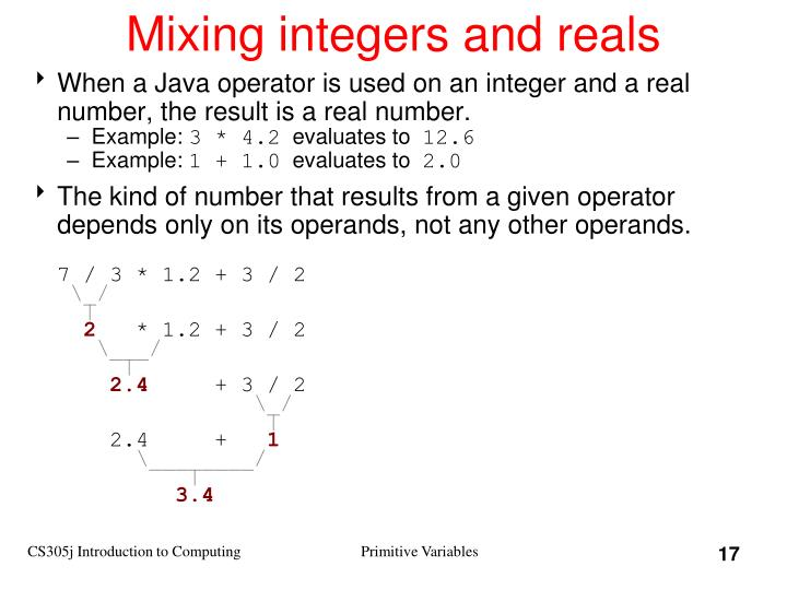 Mixing integers and reals