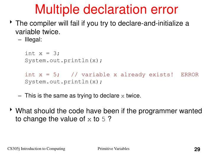 Multiple declaration error