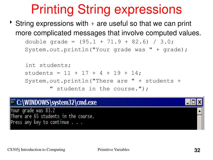 Printing String expressions