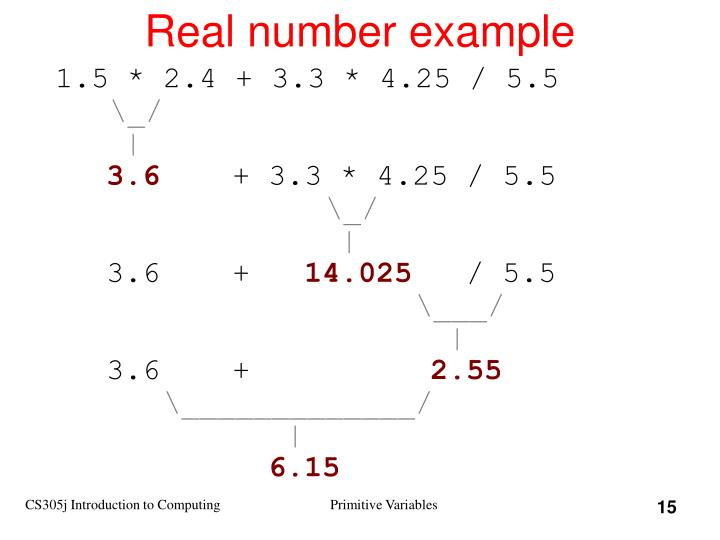 Real number example