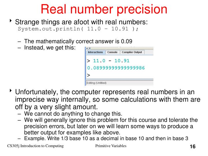 Real number precision