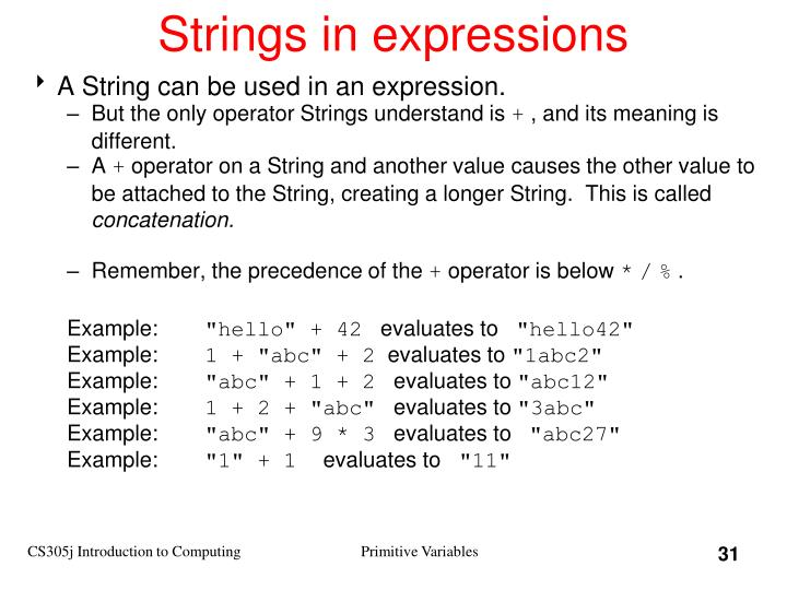 Strings in expressions