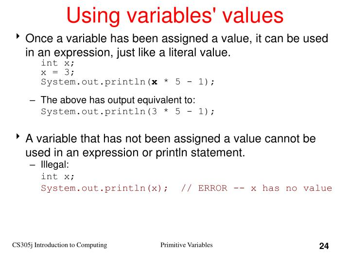 Using variables' values