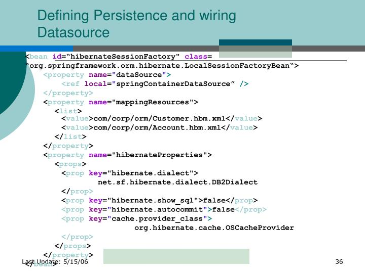 Defining Persistence and wiring Datasource