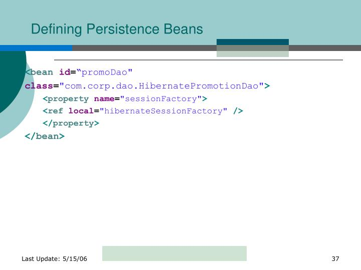 Defining Persistence Beans