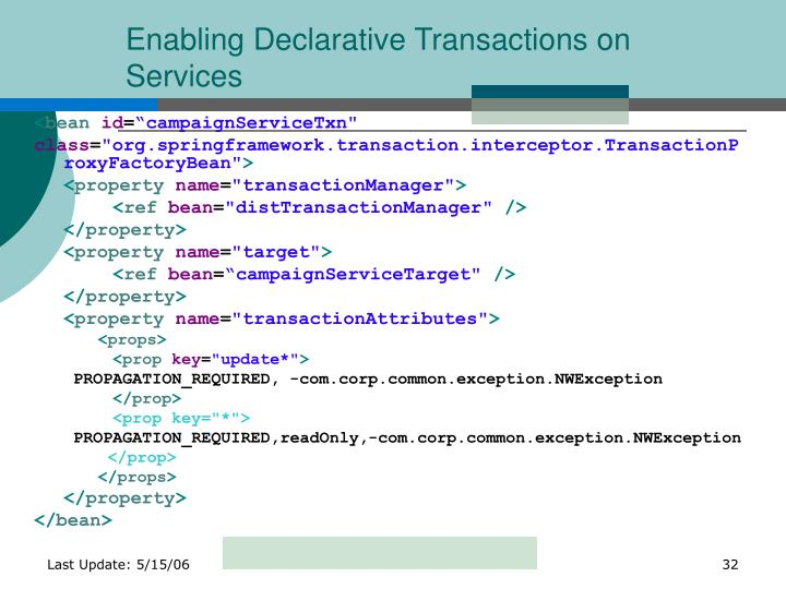 Enabling Declarative Transactions on Services