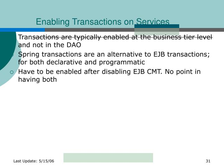 Enabling Transactions on Services