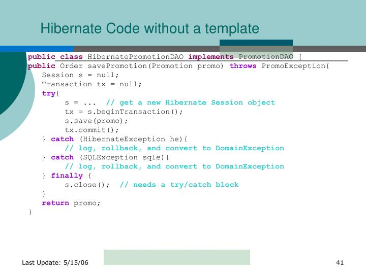 Hibernate Code without a template