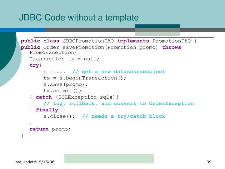 JDBC Code without a template