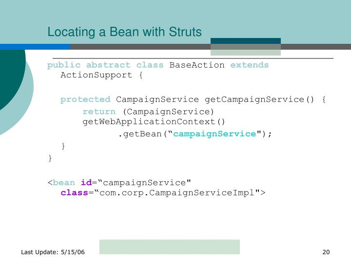 Locating a Bean with Struts