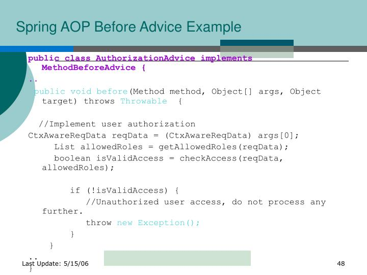 Spring AOP Before Advice Example