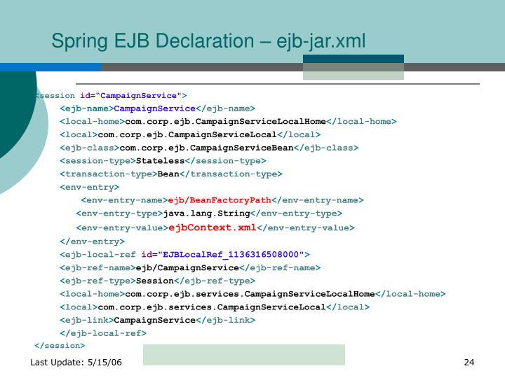 Spring EJB Declaration – ejb-jar.xml