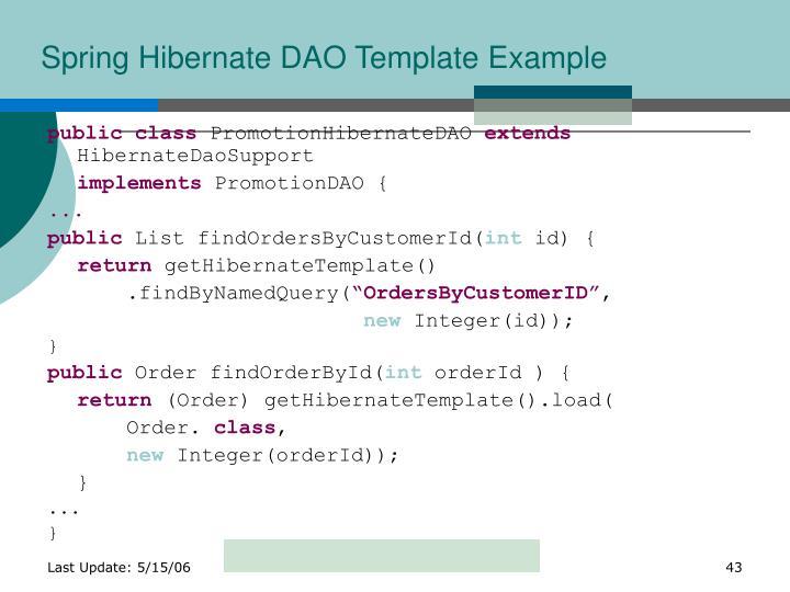 Spring Hibernate DAO Template Example