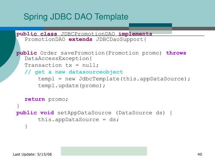 Spring JDBC DAO Template
