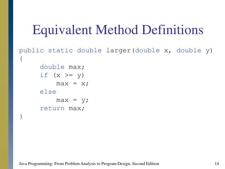 Equivalent Method Definitions