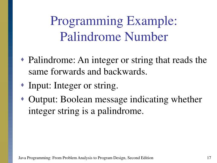 Programming Example: Palindrome Number