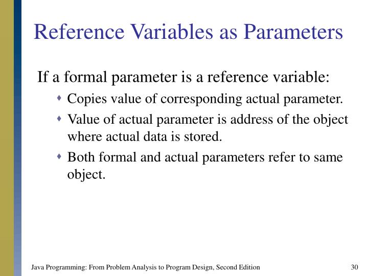 Reference Variables as Parameters