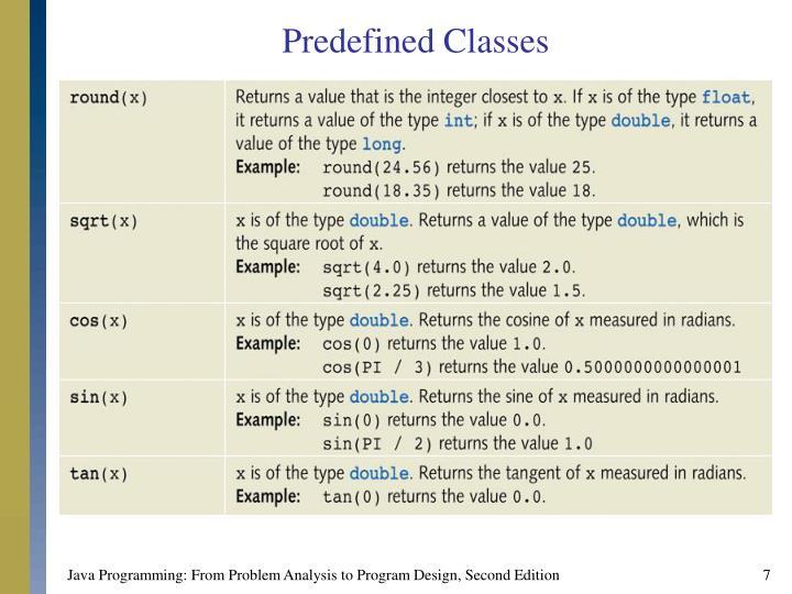 Predefined Classes