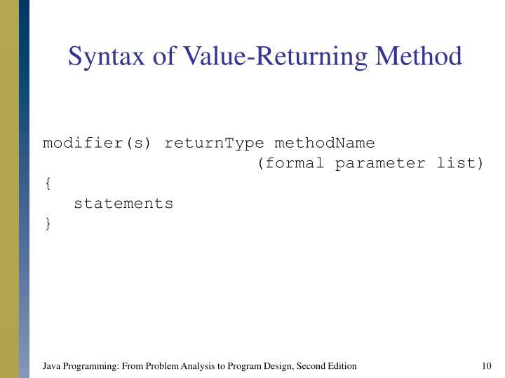 Syntax of Value-Returning Method
