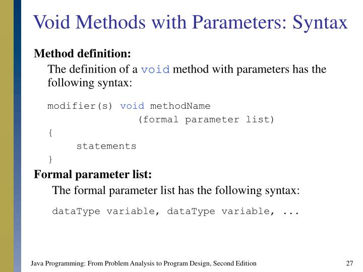 Void Methods with Parameters: Syntax