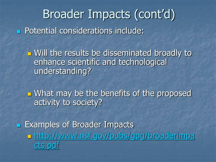 Broader Impacts (cont'd)
