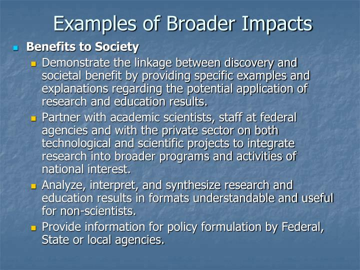 Examples of Broader Impacts