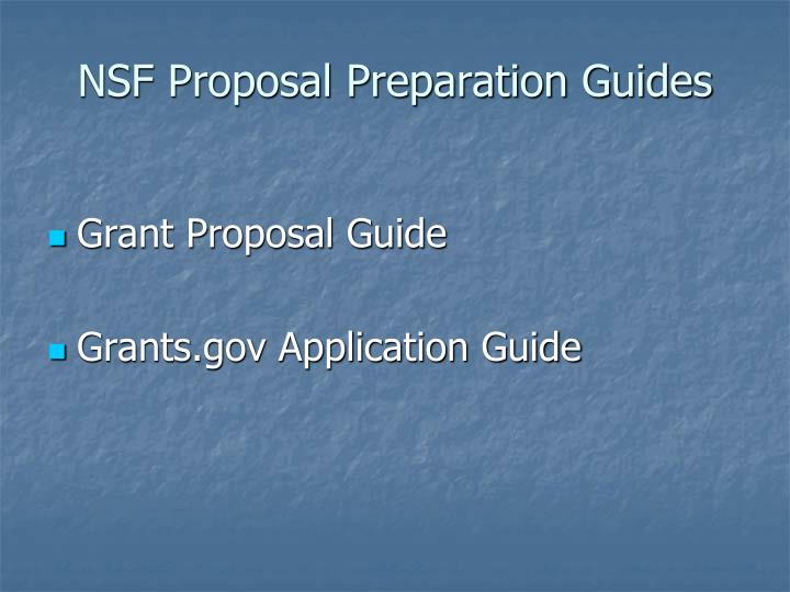 NSF Proposal Preparation Guides