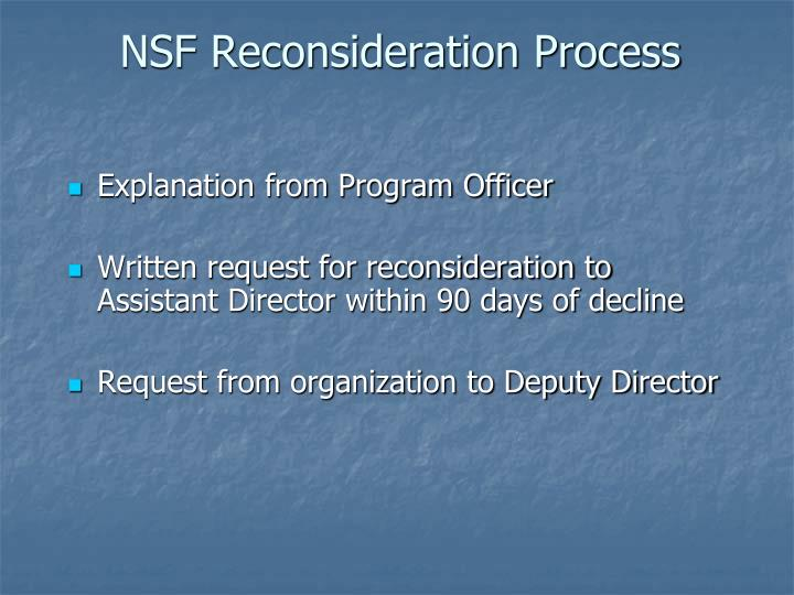 NSF Reconsideration Process