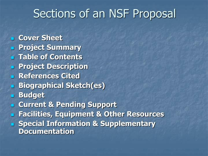 Sections of an NSF Proposal