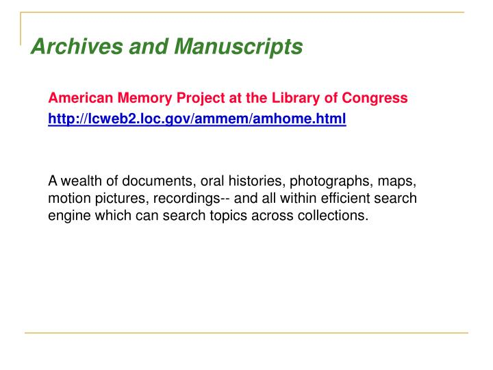 Archives and Manuscripts