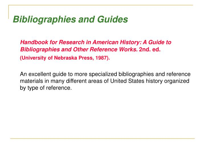 Bibliographies and Guides